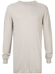Rick Owens Long Sleeve Fitted Sweater Neutrals