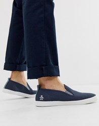 Original Penguin Side Stripe Canvas Plimsolls In Navy
