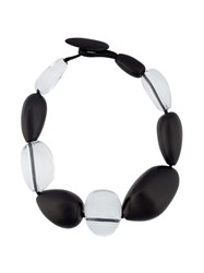 Monies Contrast Chunky Bead Necklace Black