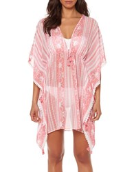 Bleu By Rod Beattie Smock It To Ya Printed Kaftan Cover Up Coral