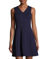Halston Sleeveless Back Cutout Fit And Flare Dress Navy