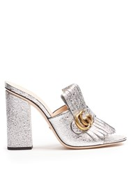 Gucci Marmont Fringed Leather Sandals Silver