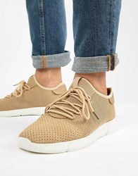 New Look Knitted Detail Trainers In Tan Stone