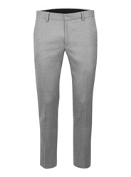 Topman Light Grey Salt And Pepper Ultra Skinny Fit Cropped Smart Trousers