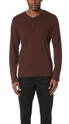 The Kooples Leather Trim Henley Brown
