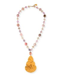 Devon Leigh Long Pink Opal And Moonstone Beaded Pendant Necklace Gold