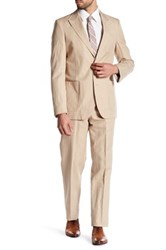 Strong Suit Dino Tan Two Button Peaked Lapel Trim Fit Beige