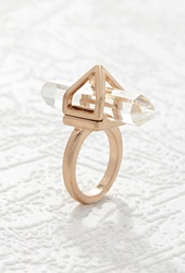 Forever 21 Caged Faux Stone Ring Gold Clear