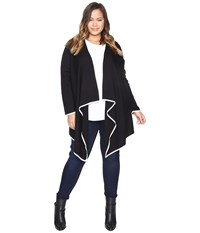 Vince Camuto Plus Size Long Sleeve Drape Open Front Tipped Sweater Cardigan Rich Black Women's Sweater