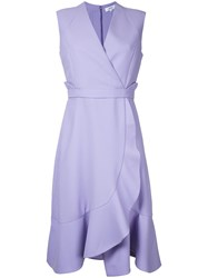 Carven Frill Hem Wrap Dress Pink Purple