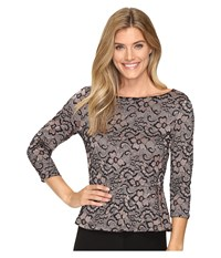 Ivanka Trump Long Sleeve Lace Peplum Top Black Taupe Women's Clothing