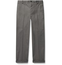 Thom Browne Grey Cropped Cotton Twill Trousers Gray