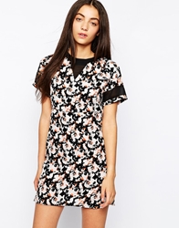 Influence Floral Print Shift Dress With Mesh Detail Multi