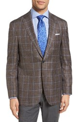 David Donahue Men's Big And Tall Aiden Classic Fit Windowpane Wool Sport Coat Brown