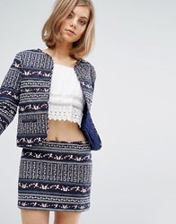 Vanessa Bruno Ath Athe Quilted Fitted Jacket In Print Blue