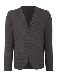 Peter Werth Men's Stoker Dogtooth Cotton Workwear Blazer Charcoal