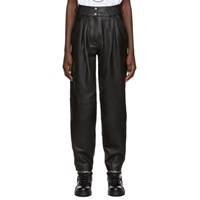 Balmain Black Leather Tapered Pants