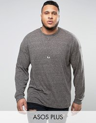 Asos Plus Oversized Long Sleeve T Shirt With Bellow Sleeve In Textured Fabric Charcoal Grey