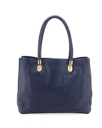 Cole Haan Benson Novelty Leather Tote Bag Dark Blue