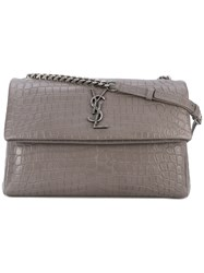 Saint Laurent Monogram Croc Effect Shoulder Bag Women Calf Leather One Size Grey
