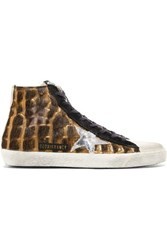 Golden Goose Francy Distressed Calf Hair And Suede High Top Sneakers Leopard Print