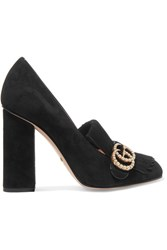 Gucci Marmont Faux Pearl Embellished Fringed Suede Pumps Black