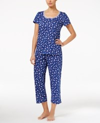 Charter Club Scoop Neck Top And Cropped Pants Printed Knit Pajama Set Only At Macy's Floral Bouquets