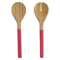 Habitat Tova Set Of Pink Bamboo Salad Servers
