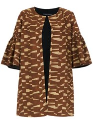 Andrea Marques Printed Short Sleeved Coat Brown