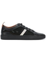 Bally Contrast Stripe Sneakers Men Leather Polyester Rubber 9 Black