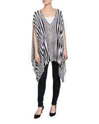Minnie Rose Space Dye V Neck Poncho Black Whit