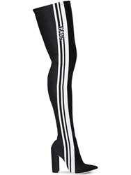 Gcds 110Mm Stripe Lycra Thigh High Boots Black