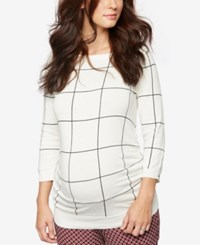 A Pea In The Pod Maternity Boat Neck Plaid Sweater Black White Pattern