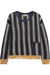 Acne Studios Blanca Distressed Striped Knitted Sweater Navy