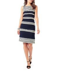 Phase Eight Chiffon Layered Shift Dress Navy Cream