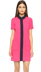 Victoria Beckham Short Sleeve Shirtdress Neon Pink Navy