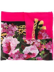 Dolce And Gabbana Floral Print Scarf Pink And Purple