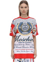 Moschino Oversize Printed Cotton Jersey T Shirt Multicolor