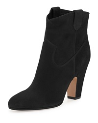 Gianvito Rossi Suede Western Bootie Luggage Black