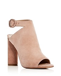 Kendall And Kylie Gigi Suede Peep Toe High Heel Booties Natural