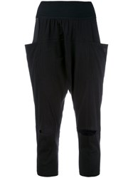 Y 3 Slashed Knee Cropped Trousers Black