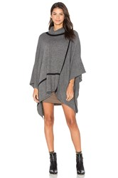 Michael Stars In Check Turtleneck Poncho Charcoal