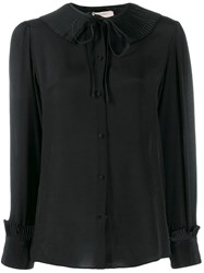 Twin Set Pleated Collar Blouse Black