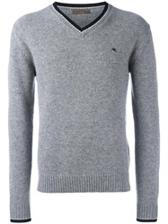 Etro Contrast Trim V Neck Sweater Grey