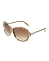 Montblanc Scalloped Trimmed Acetate Wrap Sunglasses Beige White
