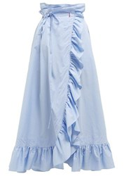 Thierry Colson Gatsby Cotton Midi Wrap Skirt Blue