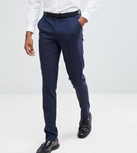 Asos Tall Skinny Suit Trousers In Navy Navy
