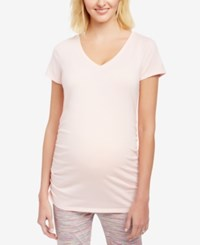Motherhood Maternity Ruched V Neck T Shirt Rose Quartz