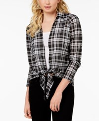 Almost Famous Juniors' Plaid Layered Look Top Black White