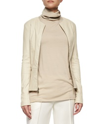 The Row Anasta Leather Zip Front Jacket Rose Cream